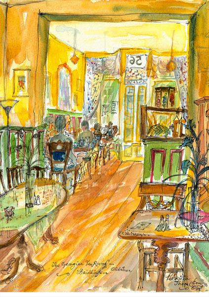 TAKING TEA - In the Georgian Tea Rooms, Old Town, Bridlington, East Yorkshire by Patricia Edith Mary Thompson