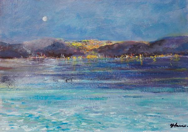 Harbour Lights with boats  by Teresa Tanner