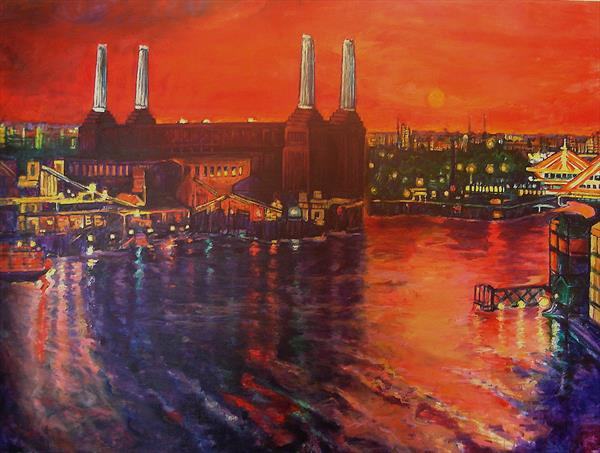 Red Sky over Battersea Power Station, large London cityscape