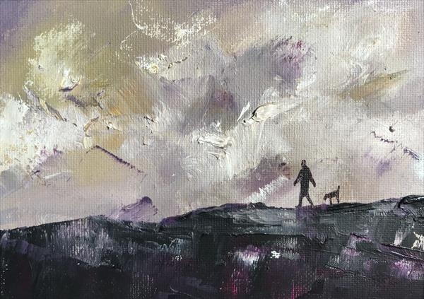 Getting to where you should be going - Moorland walk with the dog. ( framed original oil ) by Sarah Gill