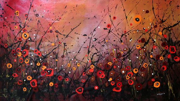 Autumn Melodies #1 - Large original floral painting by Cecilia Frigati