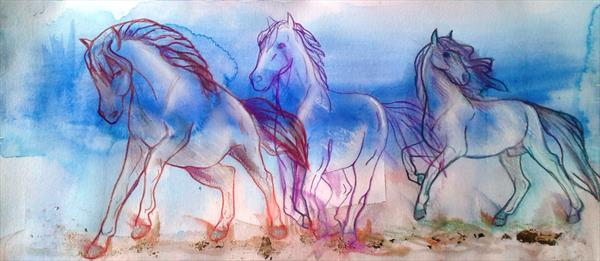 Horses galloping on a windswept beach by Helena Manchip