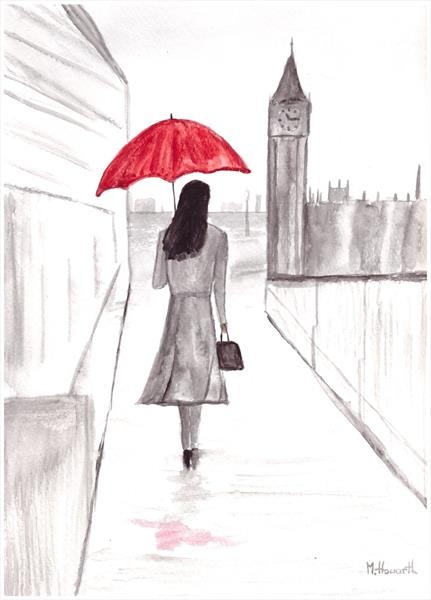 Girl with red umbrella by Monika Howarth