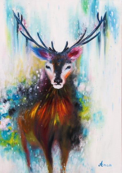 """""""The woods king""""- Stag painting,modern animal oil painting, abstract reindeer wall art, animal art,  by Florentina(anca)  popescu"""