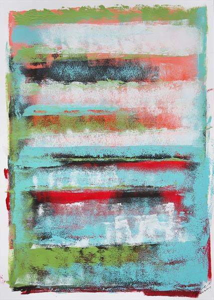 Green Stacked - Fine Art on Paper by Ronald Hunter