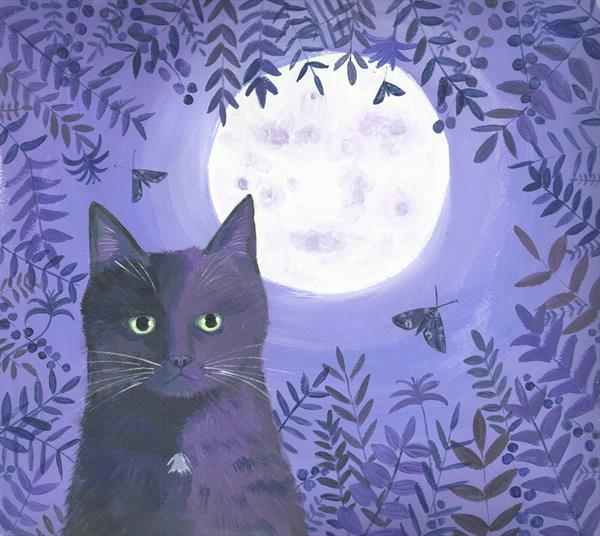 The Night Out cat painting by Mary Stubberfield