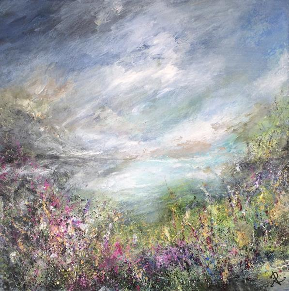 Heather Landscape/Seascape Anglesey  by Janice  Rogers