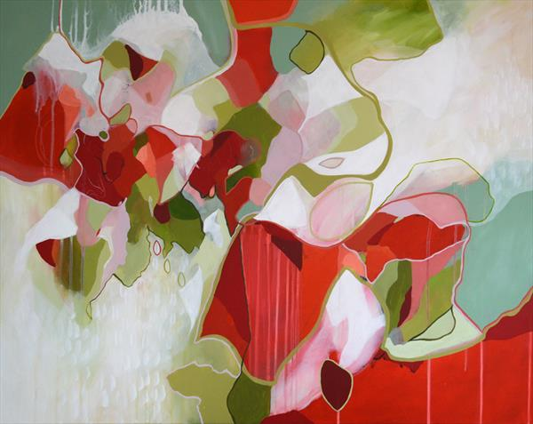 Inverse Reality - Large Red And Green Abstract Painting by Tracy - Ann Marrison