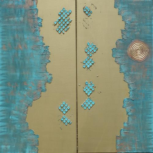 copper patina gold long textured painting abstract A256 by Ksavera Art