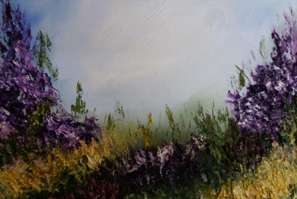 Essence of Summer In Violet I- An Abstract Landscape In Oil. by Marjory Sime