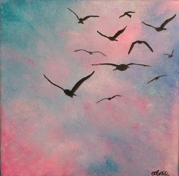 Seagulls at dusk - with mini easel by Andrew Snee