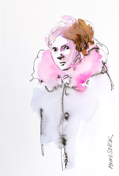 The girl with the pink scarve by Fabienne Monestier