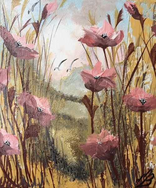 Pink poppies on gold leaf by Marja Brown