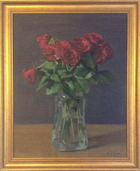 Red Roses ( framed original) by Christopher Gill