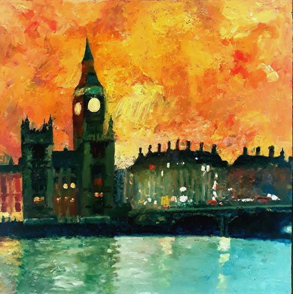 Big Ben Tower Westminster- orange sky