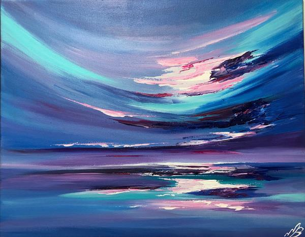 Abstract seascape in blues and turquoise by Marja Brown