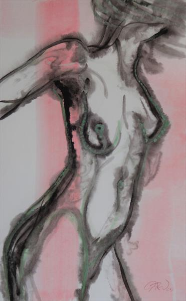 Pink and green figure 1 by Gillian A Walmsley