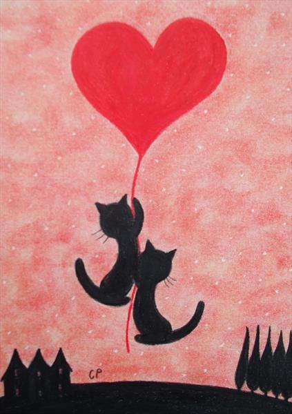 Cats and Heart (Framed) by Claudine Peronne
