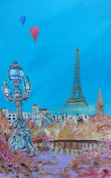Autumn Ballooning Over Paris (large canvas) by David King