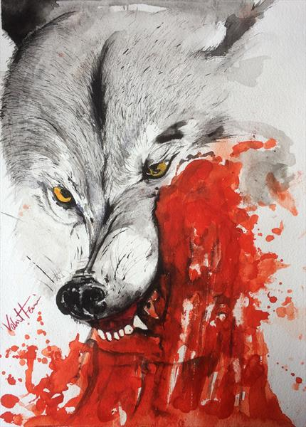 Wolf and blood by Vahid Farmani Kermani