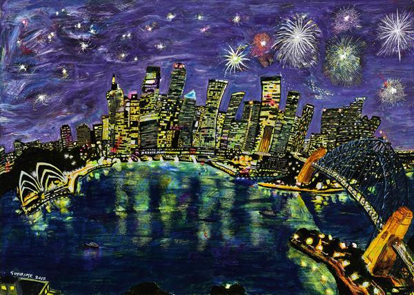 Fireworks Over Sydney Skyline and Harbour at Night by Michael  Gutteridge