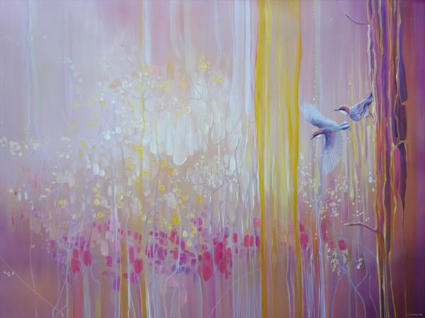A Piece of Magic - a pink abstract painting  by Gill Bustamante