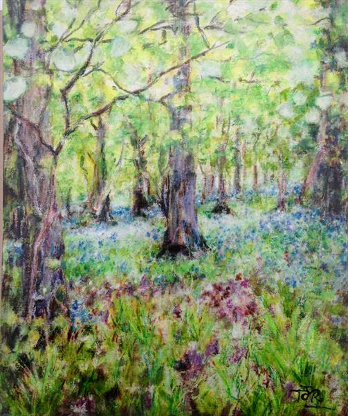 A Bluebell wood in Bisley by Theresa  Robinson