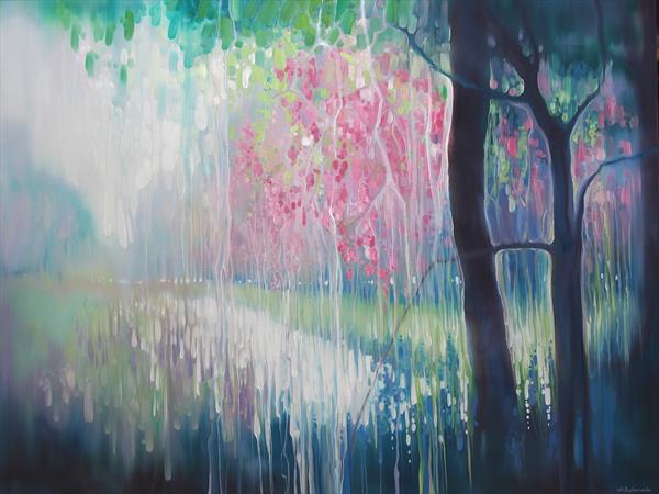 Song of April - a large abstract landscape painting of a Sussex river valley by Gill Bustamante