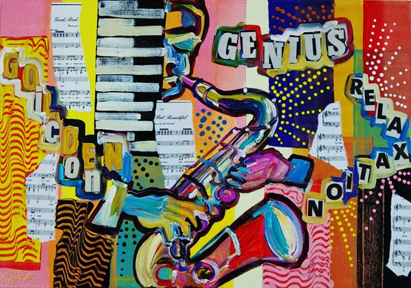 POP-Art Saxophone Goldern Icon 902 by Eraclis Aristidou