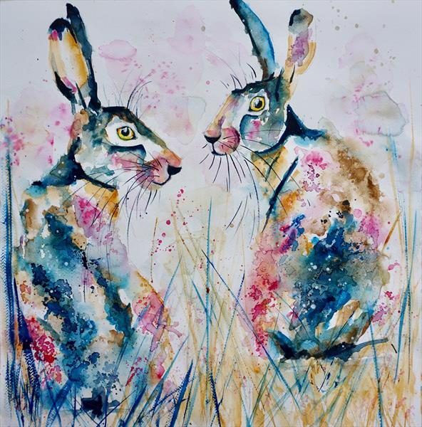 Meeting of Hares 50x40cm
