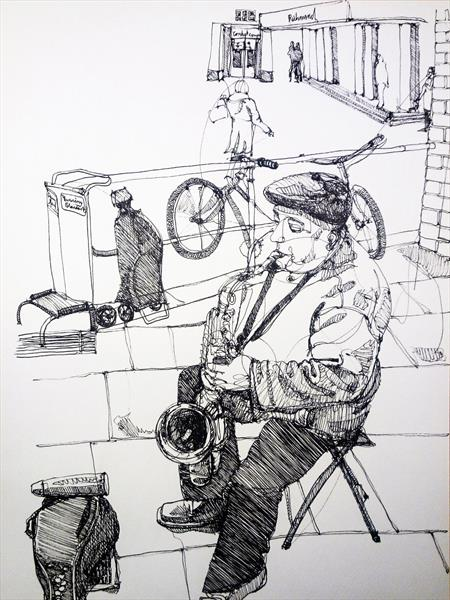 Saxophonist in Richmond upon Thames by Dominik Gackstatter