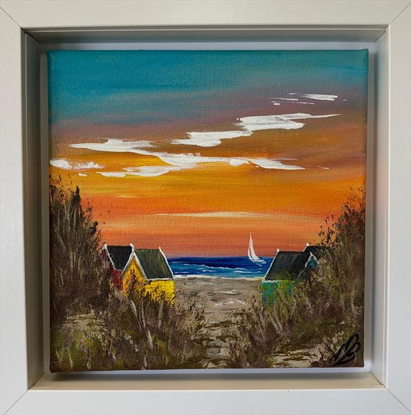 Beach huts at sunset in a white frame by Marja Brown