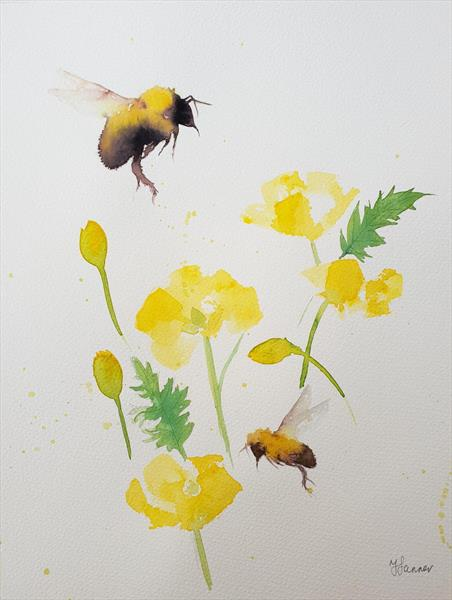 Bumble Bees Welsh Poppies by Teresa Tanner