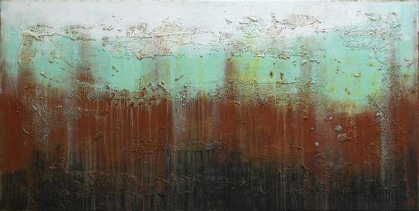 Abstract Painting - Rusty Landscape - B2 by Ronald Hunter