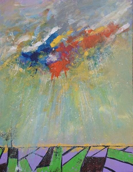 Abstract rain over the Abstract fields by wanida mchugh