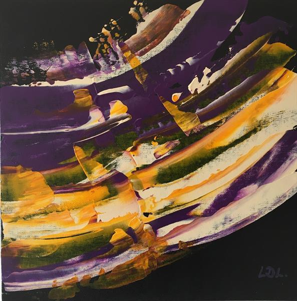 Yellow Purple Strata 1212 by Lorna Lancaster