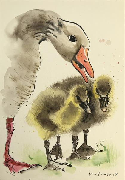 Mother Goose - watercolour and ink by Luci Power