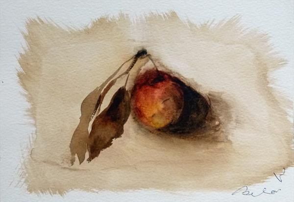 The Apple, watercolour on paper 15x21 cm by Frederic Belaubre