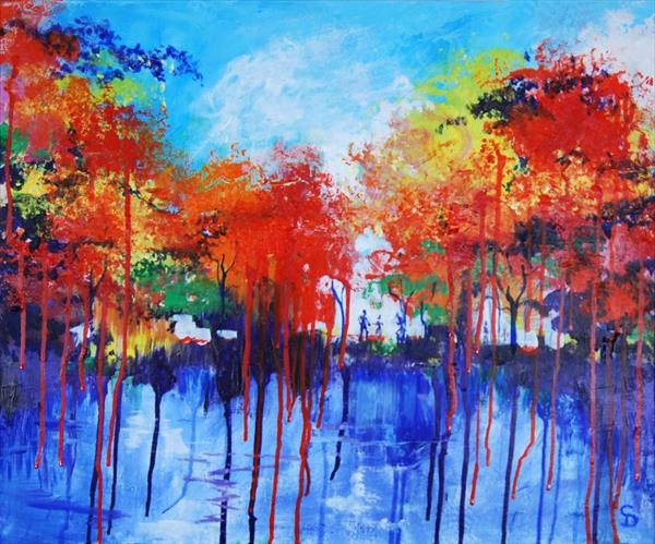 Red and yellow trees by Stuart Dalby
