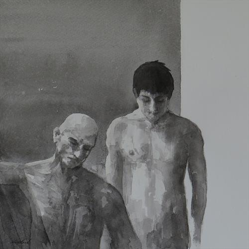 Two men in ink. by Jacqueline Westland