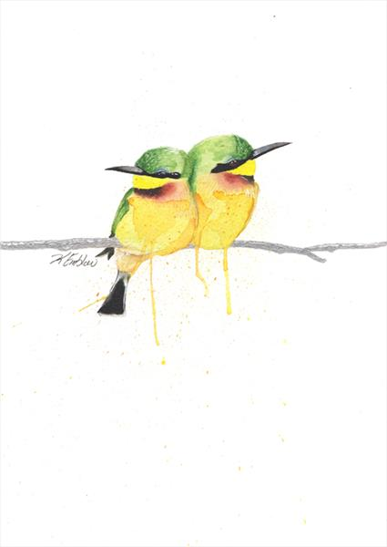 Watercolour Bee-Eaters by Kelsey Emblow
