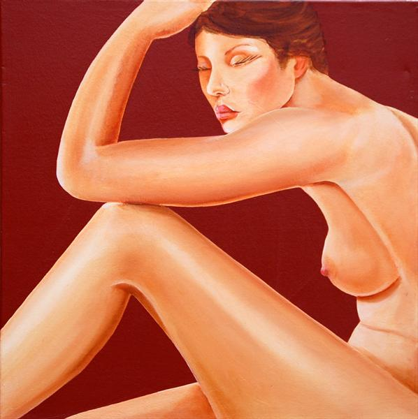 Nude On a Red Background by David Fright