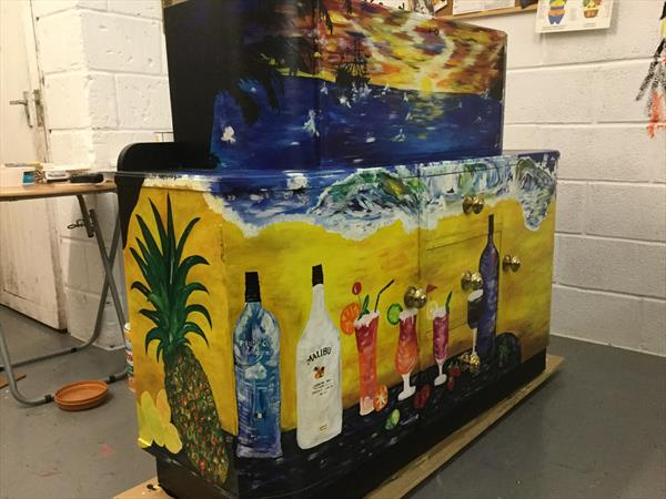 Sunset Drinks Cabinet by Kate Gallwey