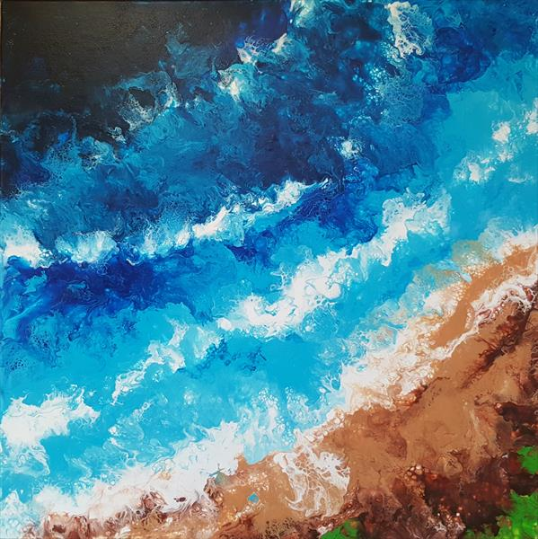 Where ocean meets the land. Abstract acrylic pouring with beautiful cells. by Inna Stone