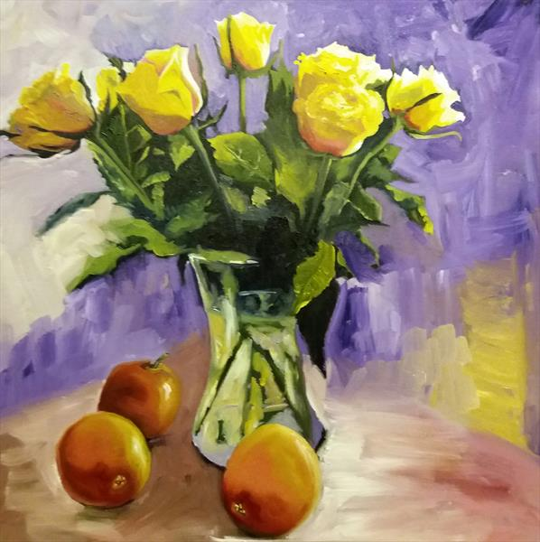 Friendship Yellow Roses - (Square floral oil painting) by Marjory Sime by Marjory Sime