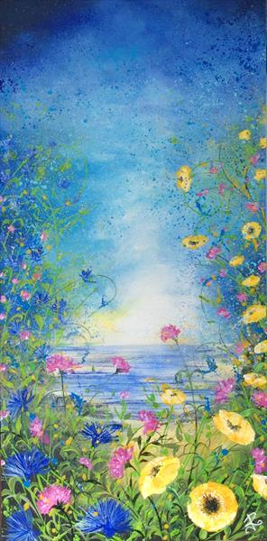 Wild Flowers by the Sea # Large by Janice  Rogers