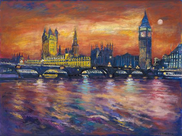 London Houses of Parliament (Print) by Patricia Clements