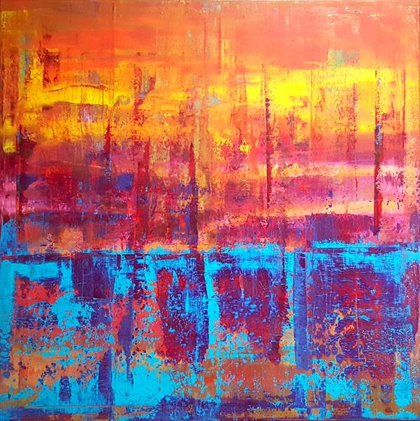 One way or another - XL palette knife painting by Ivana Olbricht