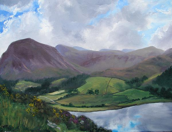 View over Loweswater, plein air sketch 18/8/11 by Peter Brook