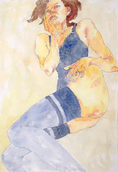 Schiele-style female nude by Peter Kavanagh